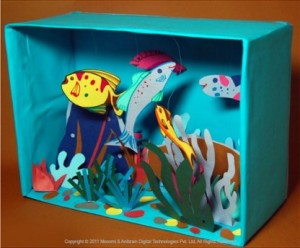 Shoe box aquarium using template from Mocomi.